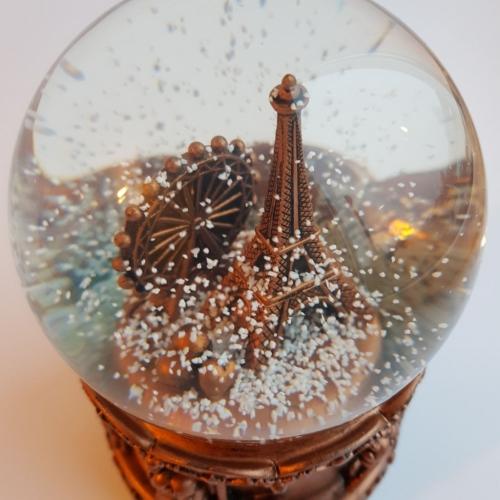 Снежный шар c автоснегом и подсветкой Париж в бронзе