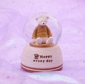 Снежный шар c автоснегом и подсветкой Happy bear